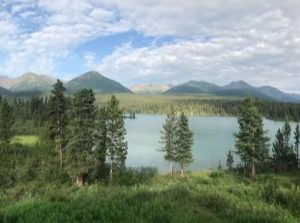 Landscape image of lake, mountain and trees