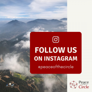 Follow Us on Isntaram @peaceofthecircle - Show a landscape image of clouds, mountains and sky in the background.