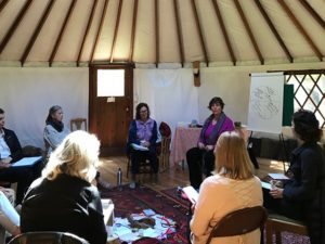 Group photo of people sitting in a circle facing each other, located inside a yurt.