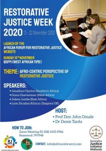 African Forum for Restorative Justice - Restorative Justice Week 2020 Poster - See main text for details.