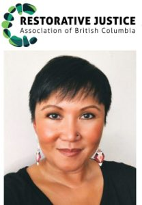 RJABC Logo and Photo of Christianne Paras in her new, exciting role as Executive Director,Restorative Justice Association of British Columbia (RJ ABC).