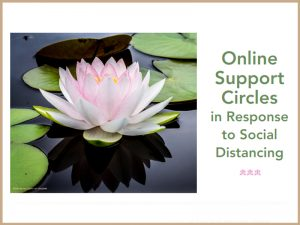 "Image of a pink lotus flower floating in the water with green lily pads in the background. Text says: ""Online Support Circles - In Response to Social Distancing"""